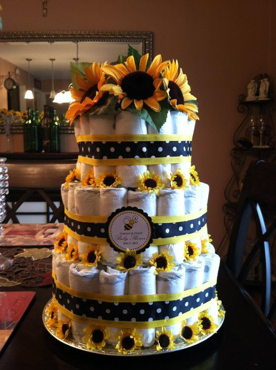 Sunflower Theme Baby Shower Diaper Cake by MamaMeelie on Etsy, $80.00