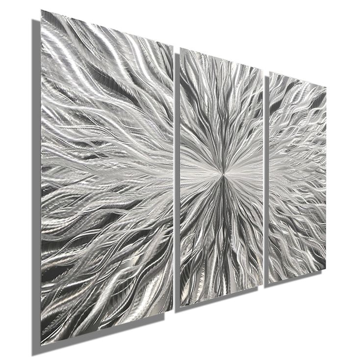 Votex 3P - Three Panel Silver Modern Abstract Metal Wall Art by Jon Allen - 38