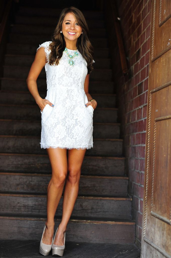 Really cute for rehearsal dinner. Kiss The Bride Dress: White Lace | $46