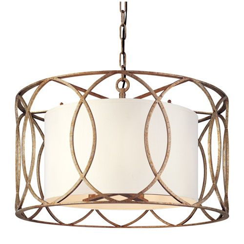 Here it is from Bellacor in the warmer finish. I like this one better than the darker bronze! Sausalito Five Light Drum Pendant Drum Pendant Lighting Ceiling Lighting
