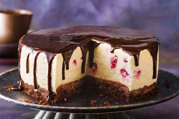 The name may say upside-down, but this cake looks right side up to us! Juicy raspberries give it a fresh bite and for the chocoholics - oozing sauce.