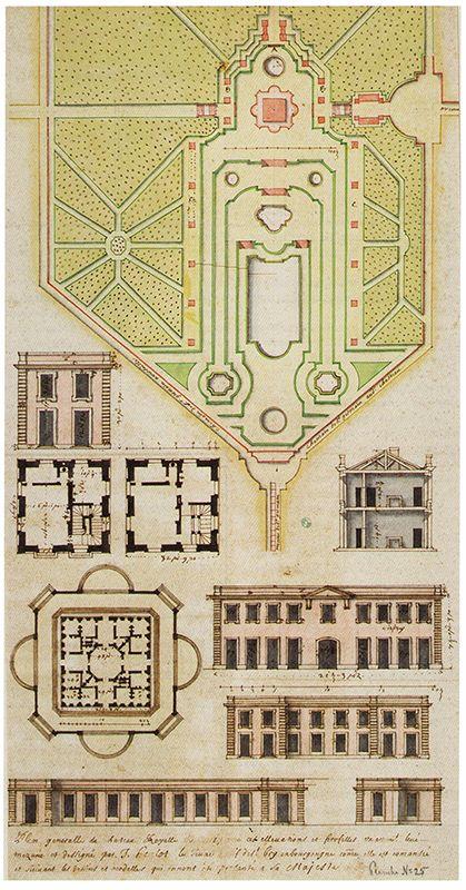Fig.1: «Plan generalle du chateau Royalle de Marly [...]». Plans et élévations des différents pavillons, relevé de J.Heulot, 1679, dessin. Stockholm, Nationalmuseum, THC25 [notice complète].