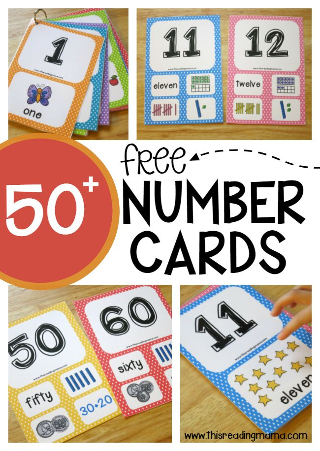 50+ Free Number Cards for 1-100 ~ with 3 levels of learning! | This Reading Mama