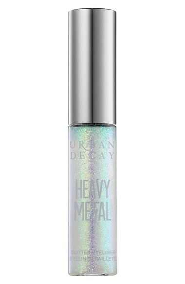 Free shipping and returns on Urban Decay Heavy Metal Glitter Eyeliner at Nordstrom.com. All the glitz of glam rock without the spandex or bad hair. Urban Decay Heavy Metal Glitter Eyeliner is a water-based, buildable formula that contains super-fine glitter in a clear base that dries down quickly and really stays put. It's suspended in a gel so it won't separate in the bottle, which means you don't need to shake it. Peach and cucumber extract condition the skin while carrot extract smoothes…