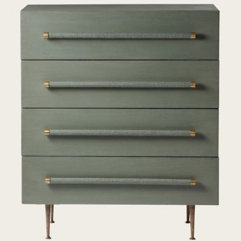 Chest of four drawers, wicker handles, brass trim and legs Chelsea textiles