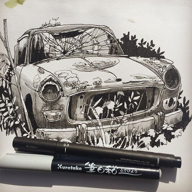 The forest of perished cars is a very silent place. The cars have been asleep and dreaming for decades. Wish I could have stayed for a week to draw their quiet portraits.  #båstnäsbilkyrkogård #båstnäs  #drawing #sketching #ink #oldcars #teckning #tusch #bilar #peugeot