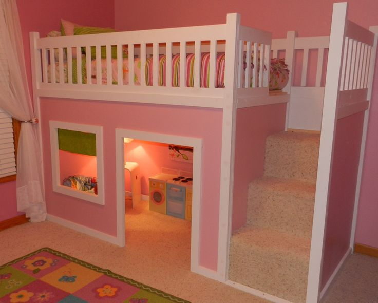 pink white loft beds for stairs | very cute, but would add storage under the stairs | Gabbys ...