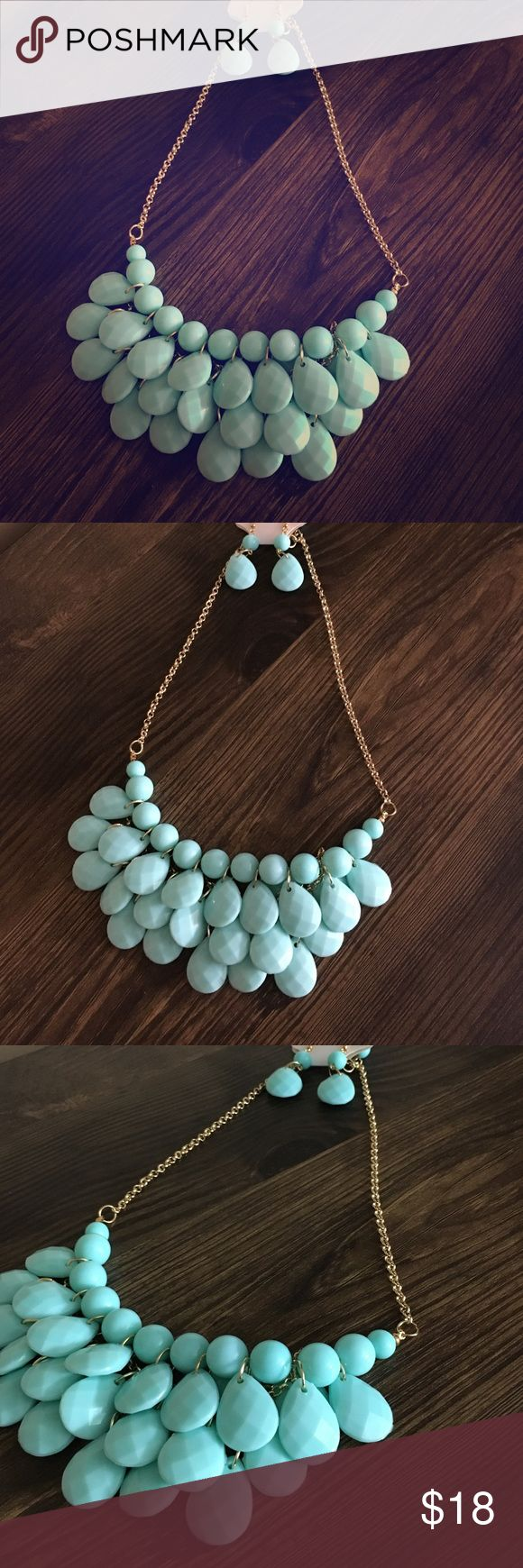 """Mint & Goldtone Boho Chic Layered Bib Necklace Set This necklace set is cuter in person!! It features multiple layers of stones to create a 3"""" long bib necklace area. Comes with simple, matching earrings. Gold Tone hardware and made of mixed metals. ✅✅ Bundle a few of our items and save!! NeatandNice Jewelry Necklaces"""