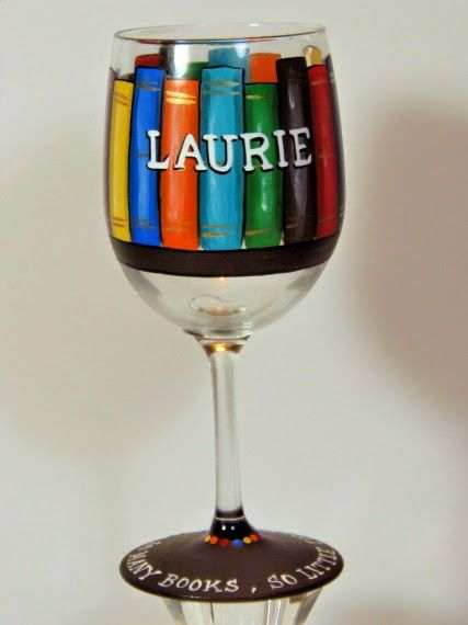 Book Lovers Painted Wine Glass via Kudos Kitchen By Renee