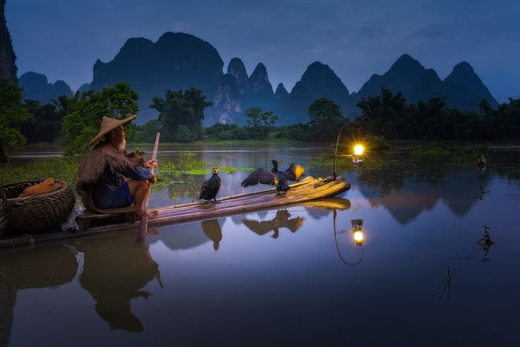 A cormorant fisherman in Yangshuo, Guanxi China