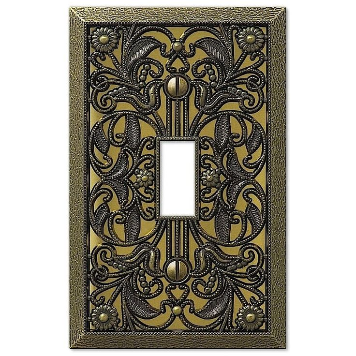 filigree antique brass cover plates