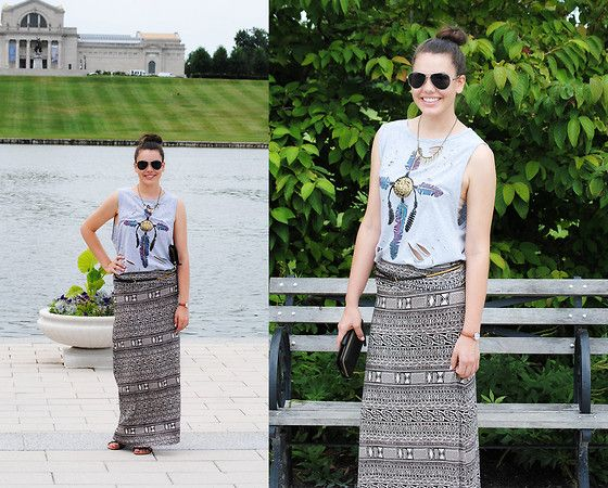 Serendipity Distressed Tank Top, Tj Max Tribal Maxi Skirt