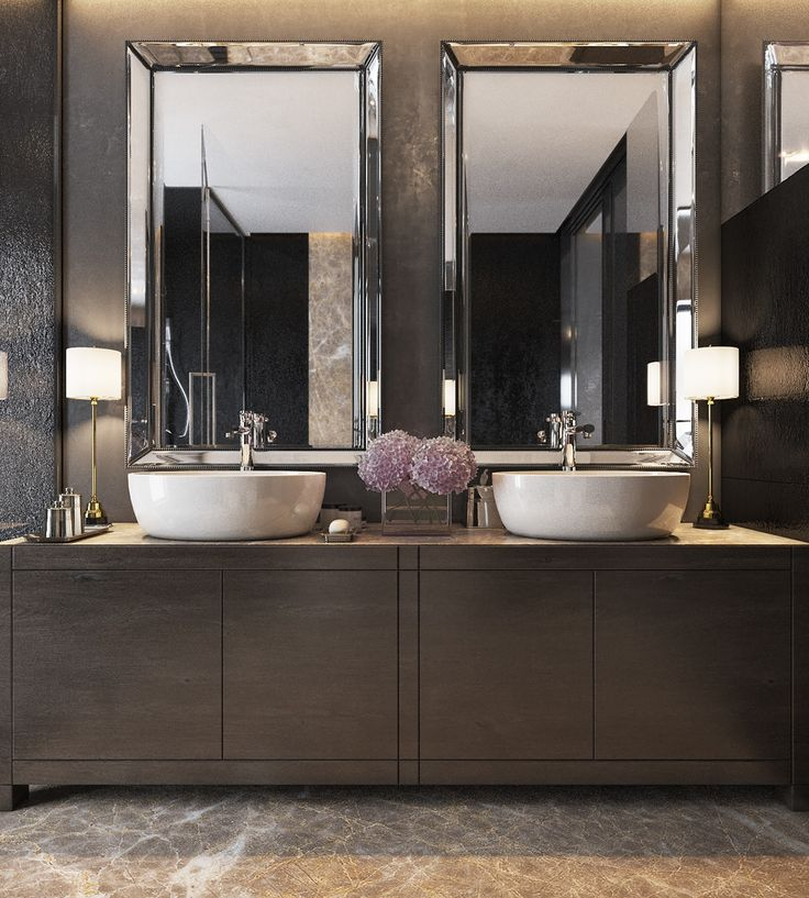 Three Luxurious Apartments With Dark Modern Interiors. Modern Bathroom  MirrorsBeveled ...