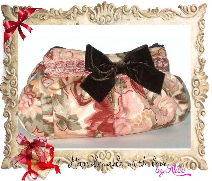 BORSA stoffa POCHETTE rosa marrone beige VINTAGE FLOREALE clutch bag SHABBY CHIC in Abbigliamento e accessori, Donna: borse | eBay