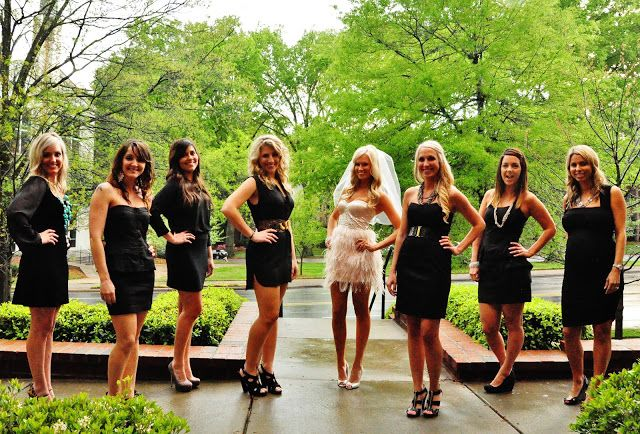 Bachelorette Party - everyone wheres a black dress, bride wears white