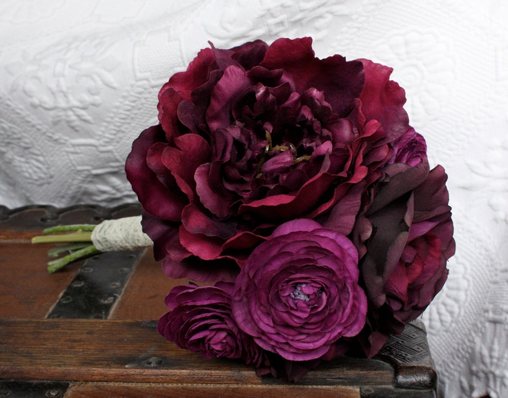 Peony Rose Ranunculus Silk Bouquet in Dark Purple (Eggplant, Grape) Fall Wedding, Purple Bouquet, Winter Wedding, Vintage Style. $60.00, via Etsy.