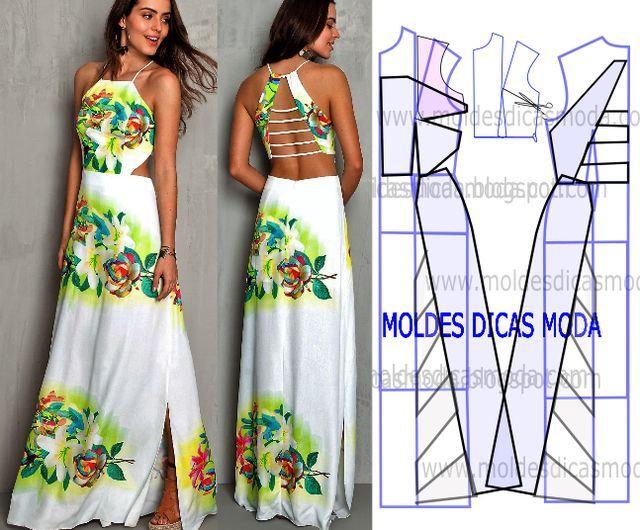 Faça a análise do desenho da transformação do molde de vestido com decote nas costas para poder fazer a leitura de forma correta. Desta forma simplifica o seu trabalho. Este passo é importante para en