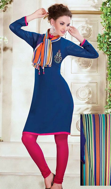 Blue Faux Georgette Tunic Price: Usa Dollar $91, British UK Pound £54, Euro67, Canada CA$99 , Indian Rs4914.