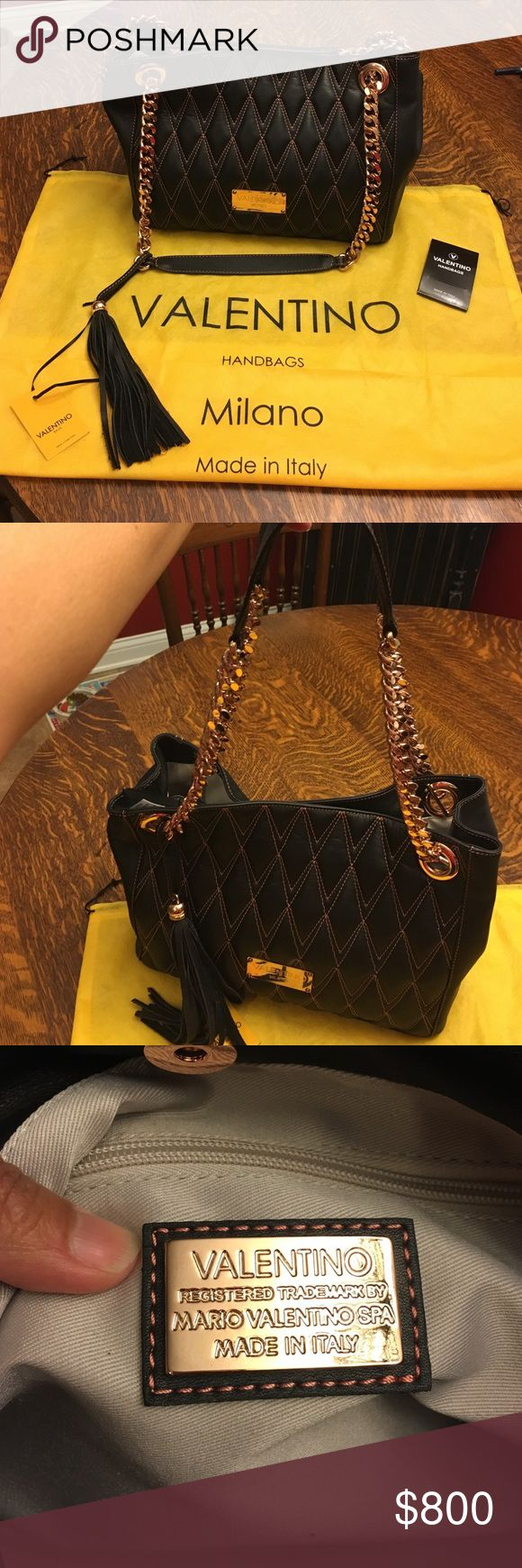 Authentic Valentino Bag. Gorgeous Valentino black leather bag with quilted front, rose colored stitching, thick rose gold chain and leather straps.  This bag comes with a bag tassel, dust bag and care booklet. Made in Italy. This bag retails for $1,095 and is new with tags attached. Valentino Bags Shoulder Bags