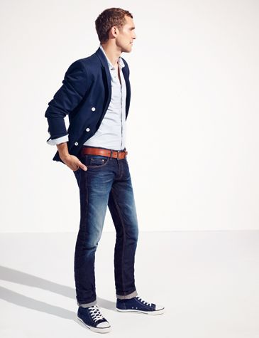 With ungraded denim & tan dress shoes