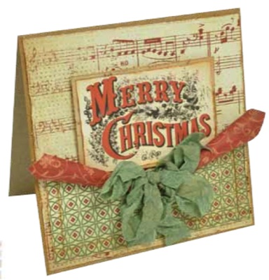 Vintage inspired Christmas card - Kaisercraft paper