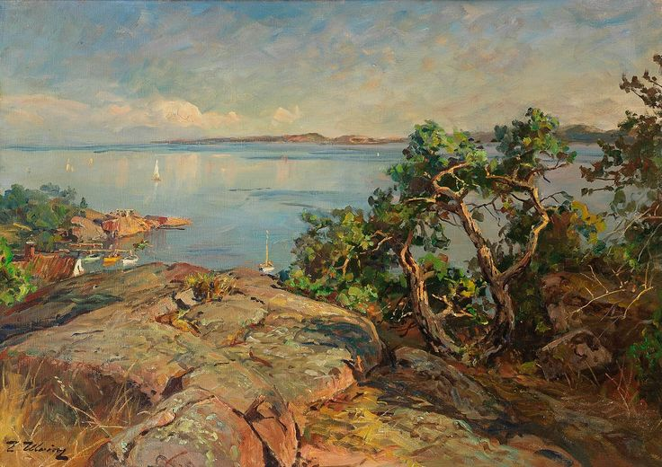 Even Ulving 1863-1952: Kystlandskap med seilbåter, Langviken Tjøme