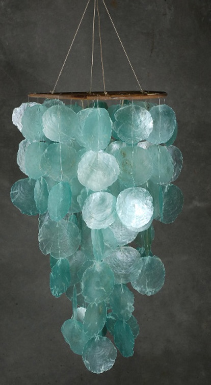 capiz shell chandelier~~ i have this.... it hangs outside of my backdoor and serenades me as i sit and read on summer days!!