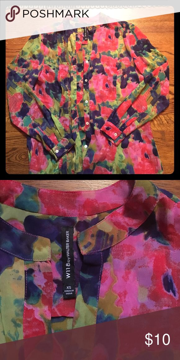 W118 Walter Baker blouse Flower print button down blouse by W118 Walter Baker W118 by Walter Baker Tops Blouses
