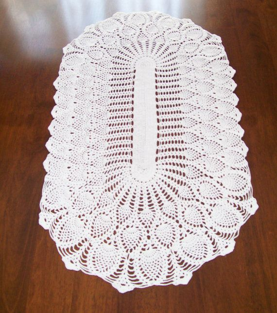 Free Anchor Crochet Pattern Doilies Table Runner : Crochet DOILY, TABLE RUNNER in White, 31 16.5 inch ...