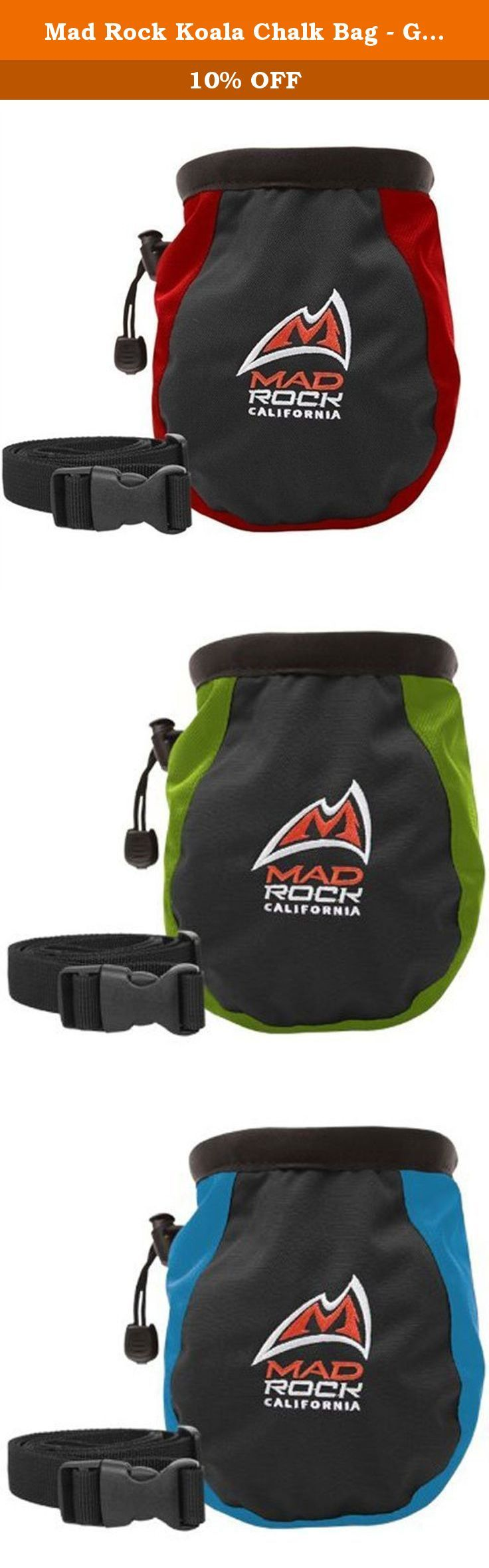 Mad Rock Koala Chalk Bag - Green. Beautifully designed chalk bag with stiff, easy-access rim and tooth brush holder. Waist belt included!.