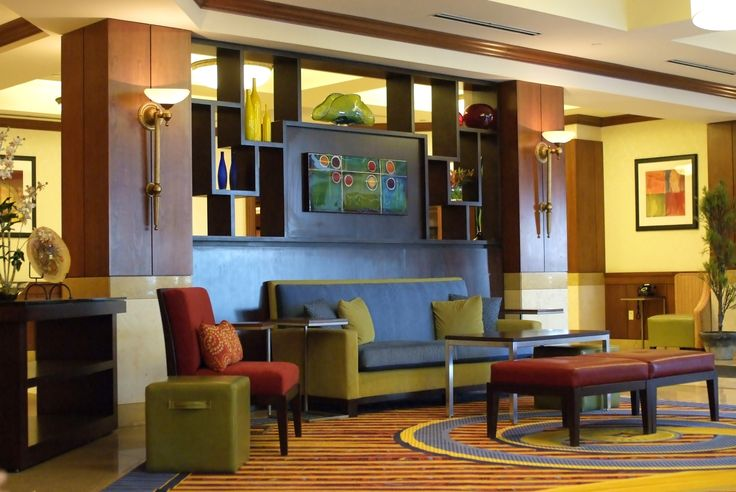 Ample seating in the Boston Marriott Quincy's lobby serves a great place to relax, grab a drink, recharge, all while using free WIFI.