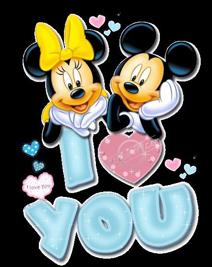 MICKEY MOUSE AND MINNIE MOUSE I LOVE YOU GIF