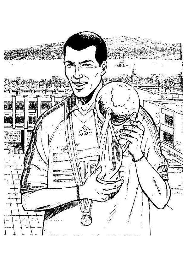 portrait colorier de zidane brandissant le trophe de la coupe du monde