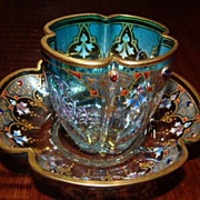 REDUCED 1875+  Moser Crystal Demitasse Cup & Saucer in Clear to Teal -  Non-Leaded Crystal & .