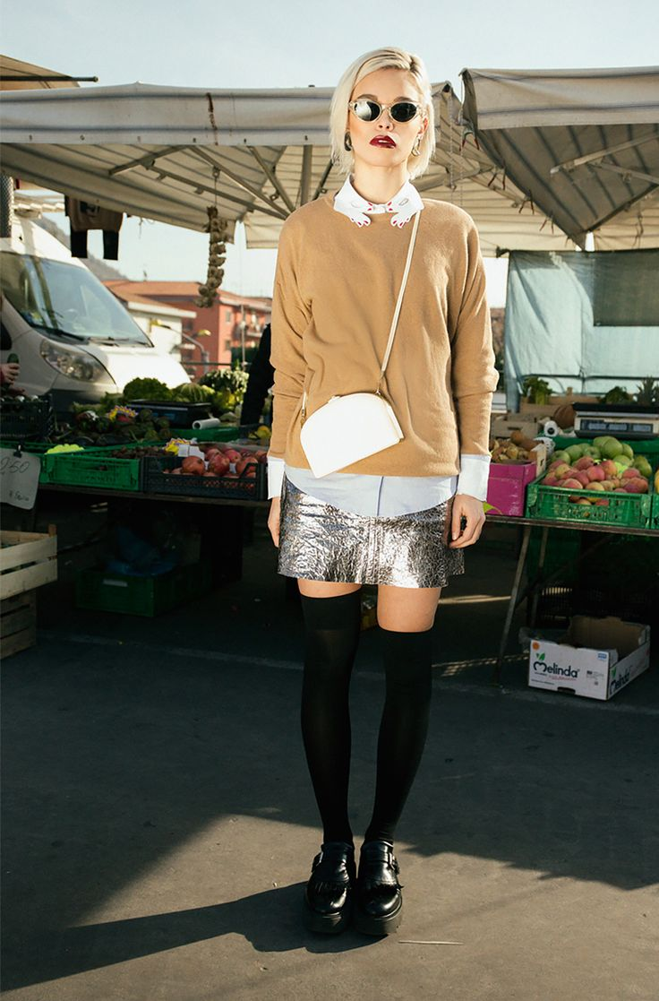 Twisty Parallel Universe metallic leather skirt on The Fashion Atlas