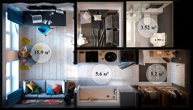 Apartamento moderno de 1 quarto