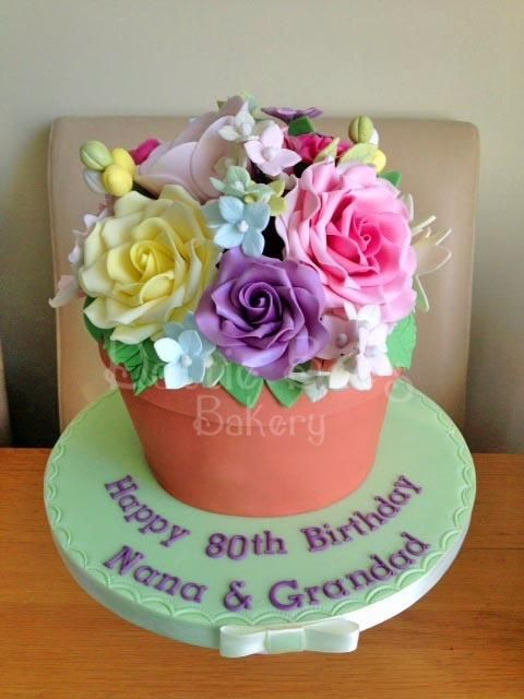 1000 images about plant pot cakes on pinterest plant for Gardening 80th birthday cake