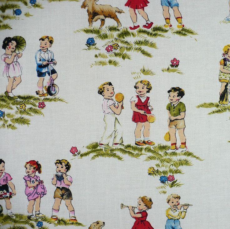 15 best vintage kids fabric images on pinterest vintage for Childrens material