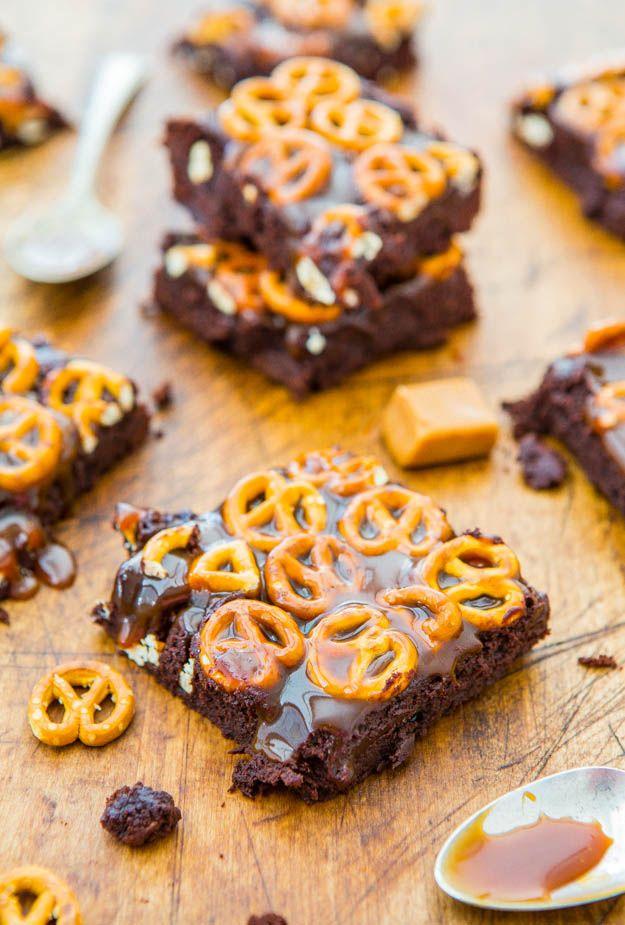 Caramel Pretzel-Topped Fudgy Brownies - Super fudgy scratch brownies ...