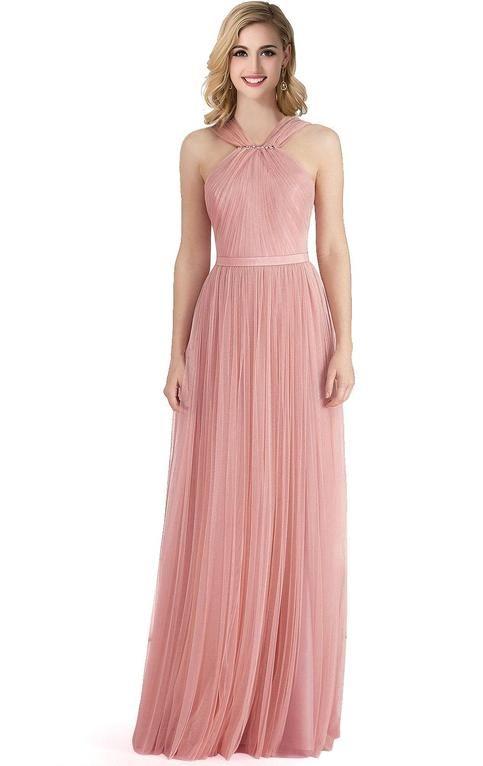 Soft pink bridesmaid dresses, halter bridesmaid dresses, tulle bridesmaid…
