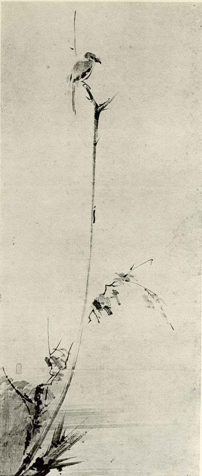 Shrike on a Dead Branch, by Miyamoto Musashi. Artist, calligrapher, writer, philosopher, ronin, greatest Samurai swordsman. Shrines mark salient incidents in his life.: Ronin