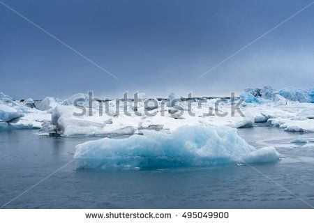 Blue icebergs closeup