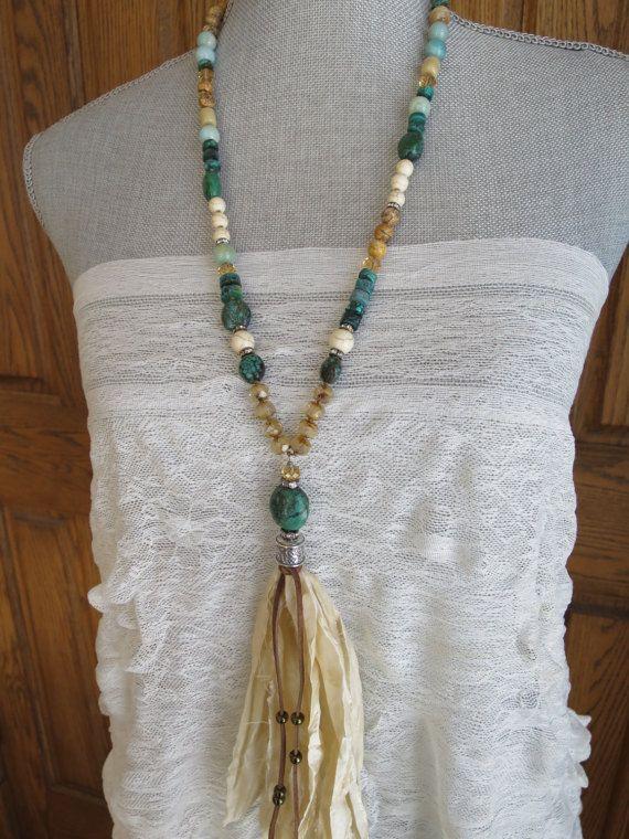 Blanco Sari de seda borla collar Chic Country Western look