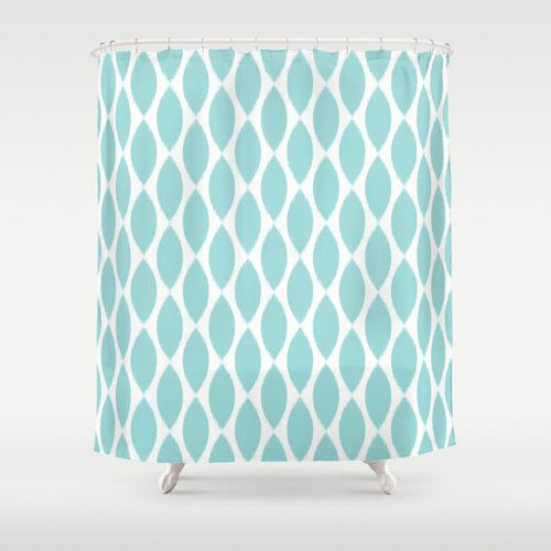 Shower Curtain in an aqua tiffany blue and white ikat petal pattern adds a touch of glamour to your bathroom.    - Shower Curtain: 71 x 74