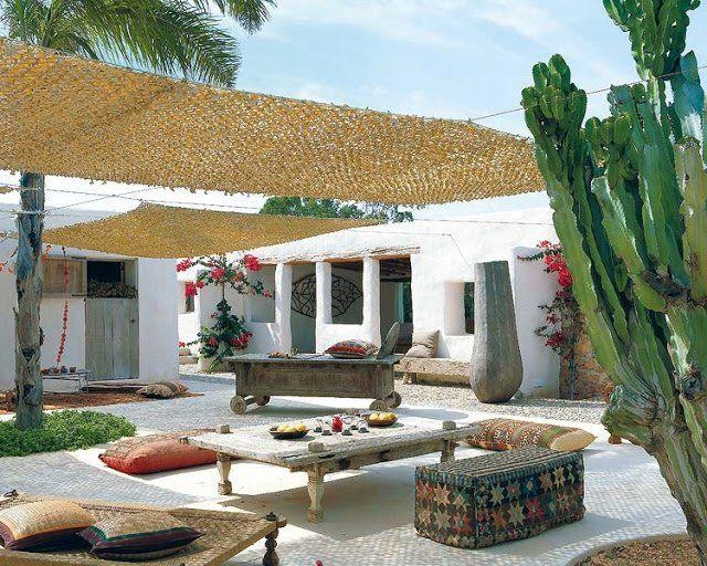 Vintage moderne mediterrane terrasse mit sonnensiegel terrasse und rustikale m bel