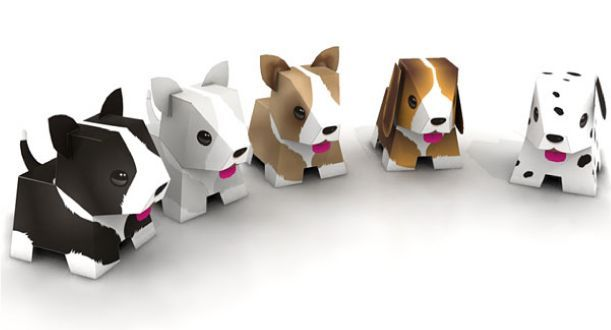 FREE printable paper toy dogs from Paper Toy