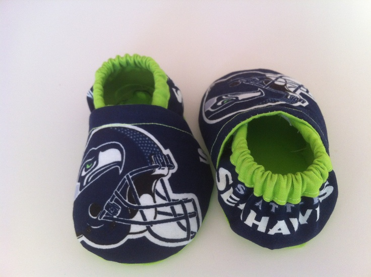 New Seattle Seahawks Fabric Cloth Baby Booties by saluna on Etsy, $15.00