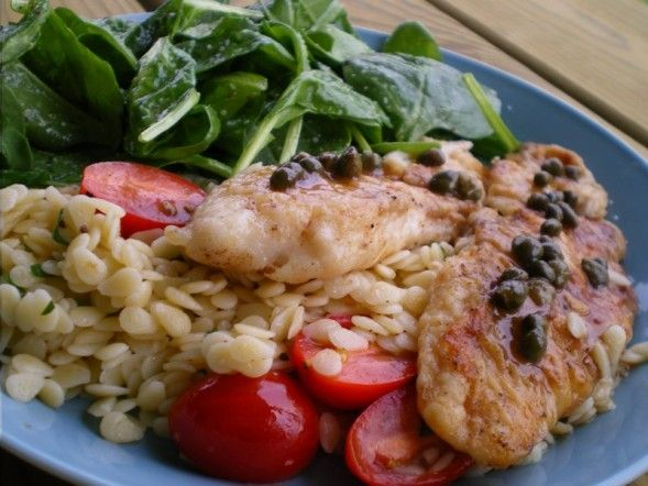 Tilapia Piccata with Orzo | Cooking Ambitions: Pasta | Pinterest