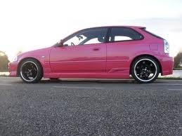 Pink Honda civic Eg hatch. Too cuoooot! Civic Eg, Honda Civic Si, Honda Hatchback, Ek Hatch, Pixar Cars Birthday, Hippie Car, Pink Jeep, New Luxury Cars, Aston Martin Cars