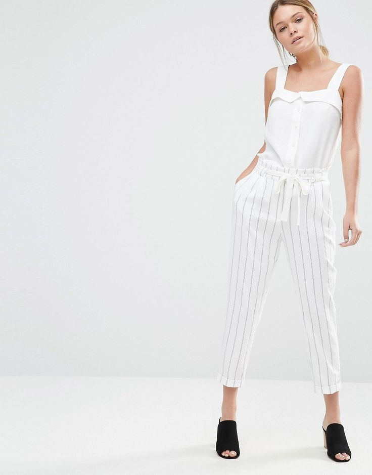 Image 1 ofOasis Stripe Peg Paperbag Trousers